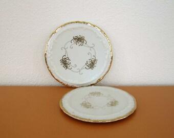 Vintage Porcelain Wine Bottle Coasters, Gold Details, Free shipping