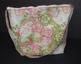 Handmade Flower Print Purse,   over the shoulder purse