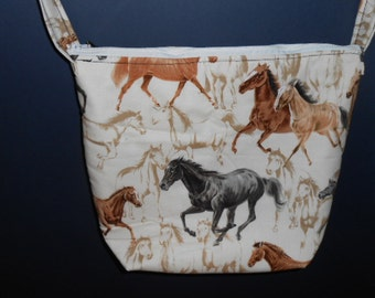 Handmade Horse Print Purse,   over the shoulder purse