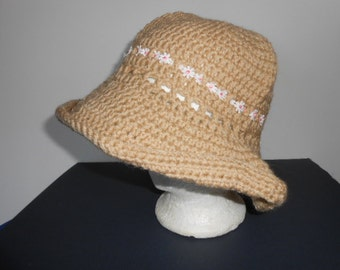 Crocheted Hat size large, tan