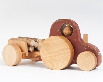 Wooden Tractor Toy, Natural Toddler Toy