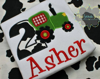 Tractor  Birthday Monogrammed and Appliqued Shirt