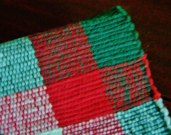 Christmas Table Runner, Christmas tree table runner, plaid table doily, Holiday table cover....