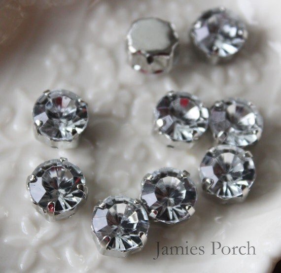30pcs 6mm Nickel Free Faceted Round Cut Acrylic Rhinestone With Rhodium Plated Metal cap for Jewelry, Accessory and Clothing