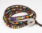 Colorful wrap bracelet - dainty leather wrap - gemstone beaded leather wrap - earthy rustic bohemian jewelry on brown leather