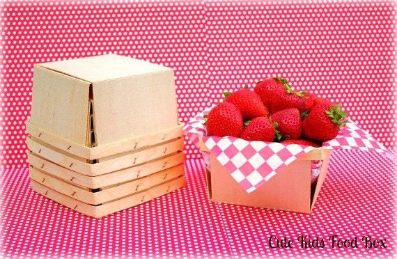 Berry Basket - Quart Size - Wood Berry Basket - Set of 12 - Picnic Basket - Lunch Box - Party Favor Box