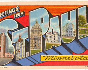 Linen Postcard, Greetings from St. Paul, Minnesota, Large Letter, circa 1945