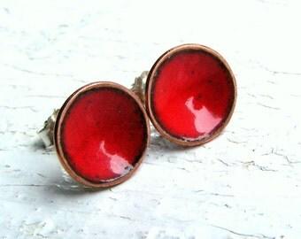 Red Enamel Stud Earrings, Enamel on Copper, Sterling Posts