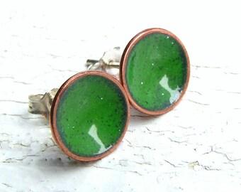 Green Enamel Stud Earrings, Enamel on Copper, Sterling Posts