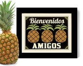 Kitchen Decor Pineapple Art Print Decor Welcome Friends Mexican Wall Art Friendship