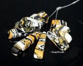Matrix Turquoise Gemstone Yellow Black Loose Beads Graduated Set 11 Beads (90114207-108)