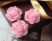 21 mm Light Pink Colour Rose Resin Flower Cabochons (.nm) (new .ag)