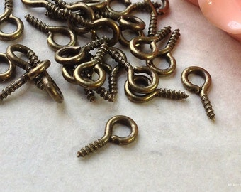 10 x 5 mm Antiqued Bronze Screw Eye Pins (.mtg)