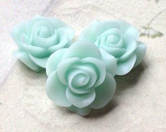 SPECIAL OFFER 21 mm Mint green Colour Rose Resin Flower Cabochons (.nm)