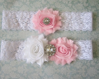 Light Pink & White Wedding Garter Set - Choose Rhinestone or Pearl