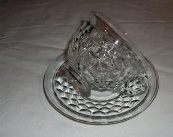 Fostoria American Cube Cup & Saucer Set Vintage USA Glassware Teacup