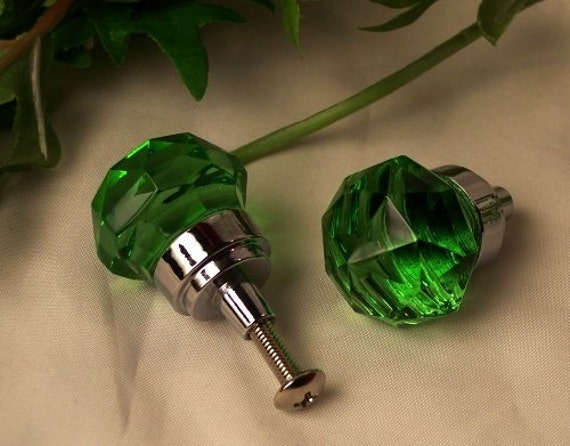 Green Glass Cabinet Knobs And Drawer Pulls: Green Crystal Pull Knobs Green K9 Crystal Glass Diamond