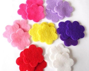 Felt flower, size 37mm, set of 21 pieces, Die Cut Shapes, Applique, Confetti, Party Supply, DIY Wedding, Felt hair clips