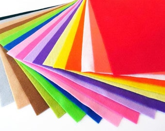 Felt sheets, pack of 17 colors, size 20cmx20cm