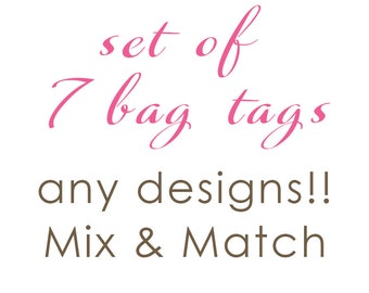 Luggage Tag | Set of 7 Personalized Bag/Luggage Tags | Choose from any design!!