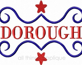 Patriotic Scroll Embroidery Design - 4th July Applique - INSTANT DOWNLOAD