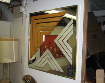Mid Century Modern 1970's geometric mirror