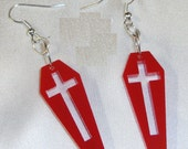 RED COFFIN Hipster Earrings Punk Emo Alternative