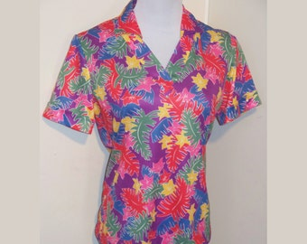 Shirt Tropical Neon Large Vintage