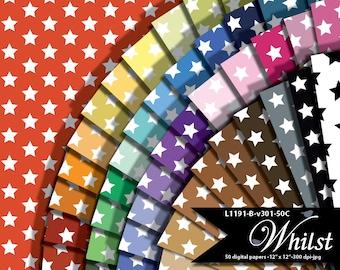White stars and rainbow colors digital paper, patriotic star scrapbook paper red white blue : L1191 B v301 50C