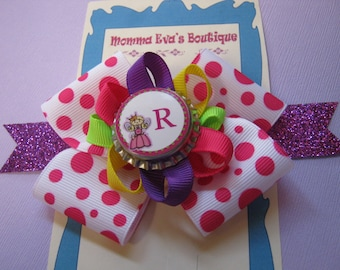 Momma Eva's -- PERSONALIZED Fun Time Princess Boutique Hair Bow //  // You Choose the Letter // Glitter Ribbon // Party Time