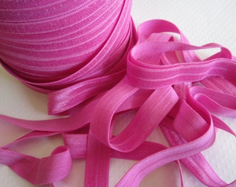 "Raspberry Pink Fold Over Elastic, 5/8"" width. 5 Yards."