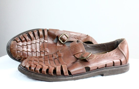 Vintage As Is Mens Bourbon Leather Huarache Sandals