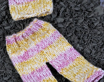 Newborn Baby Long Pants and Matching Hat in a Stripped Pink & Yellow varigated yarn. Ready to Ship Hand Made Knit Newborn Photography Prop