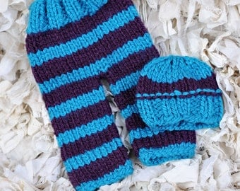 Newborn (Large) or 3 Month Old Baby Long Pants and Matching Hat in a Stripped Turquoise Blue and Purple yarns   Ready to Ship