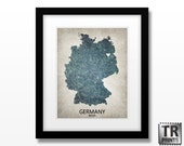 Germany Map Art Print - Home Is Where The Heart Is Love Map - Original Custom Map Art Print Available in Multiple Sizes
