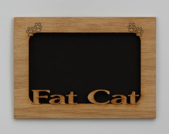 5x7 Fat Cat - Kitty Wood Photo-Picture Mat Insert for frame
