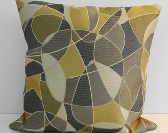 Yellow, Grey Decorative Pillow Cover, Gray, 16 x 16, Throw Cushion Cover