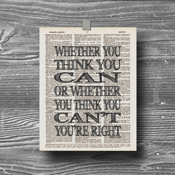 Quote Whether You Think You Can: Book Page Dictionary Art Print Poster Whether You Think You