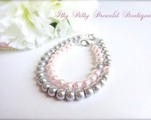 Mother Daughter Bracelets, Mommy & Me, Baby Shower, New baby Gift, Baby Pink and Silver Grey Pearl Bracelets-- FREE Gift Packaging