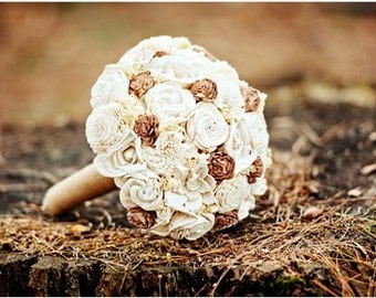 As seen in Emmaline Bride, Custom Handmade Wedding Bouquet - Cream Burlap Bridal Bouquet Natural Bouquet Keepsake Bouquet Rustic Wedding