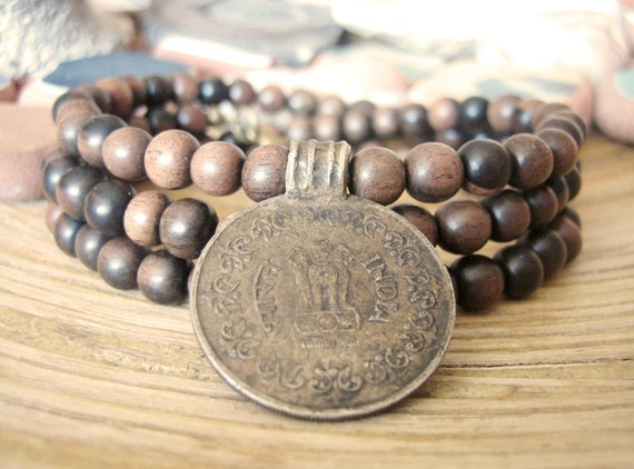 Ebony Wood Necklace - Original Vintage Indian Coin Pendant, Brown Tiger Ebony Wood Beads, Unisex Mens Womens