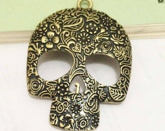 Steampunk Skull Charms -4pcs Antique Bronze Skull with Flowers Charm Pendants 49x60mm Huge size E402-4