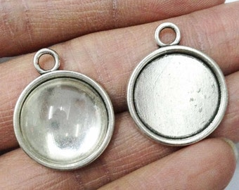 Cabochon Base Settings -15pcs Antique Silver Round Cameo Charm Pendants 18mm AA305-3