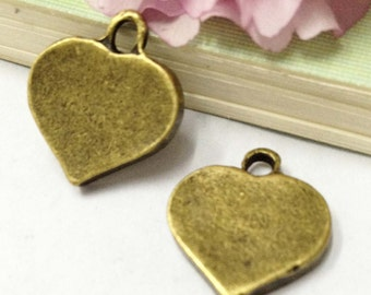 15pcs Antique Bronze Thick Plain Heart Charm Pendants 15x18mm D504-3