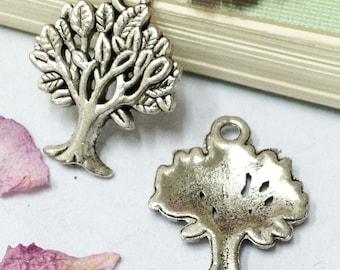 Tree Charms -20pcs Antique Silver banyan tree Charm Pendants 17x22mm AA506-3