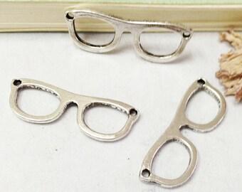 Glasses Frame -30pcs Antique Silver Mini Glasses Connector Charm Pendants 10x29mm AA308-5