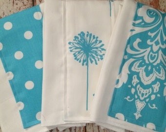 Burp Cloths, Set of Three - Gender Neutral - Turquoise and White Collection