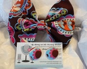 Brown Multi Paisley Bow Tie and Button Earring Set