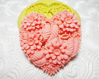 Big Heart Mold Flexible Silicone Rubber Push Mold for Resin Wax FIMO Fondant Royal Icing Chocolate Polymer Clay Metal Clay