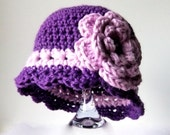 Baby Girl Hat with Lilac Flower in Sizes Newborn to 2T-4T, Baby Shower Gift, Crochet Baby Girl Flapper Hat - Made to Order
